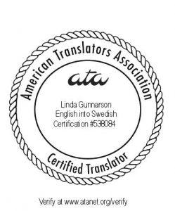 ATA:s certifieringsmärke för översättare Linda Gunnarson