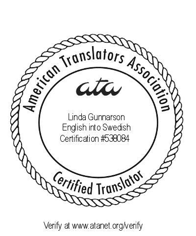 Certifieringsmärke från ATA för översättare Linda Gunnarson