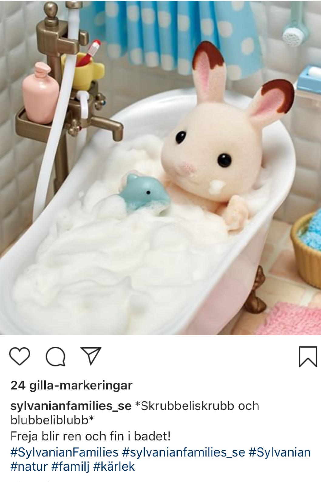 Svensk transkreation av sylvanian families instagraminlägg